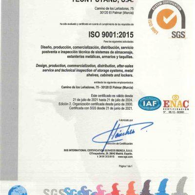 Certificado ISO 9001 2015 TECNY STAND